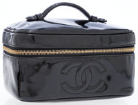 Chanel Black Patent Leather Cosmetic Case Bag