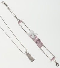 Christian Dior Set of Two; Silver Necklace with Blue Pendant & Silver Necklace with Pink Pendant
