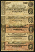 Confederate Notes:1864 Issues, T67 $20 1864, Five Examples.. ... (Total: 5 notes)