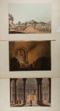 """Books:Prints & Leaves, [Antique Illustrations] Lot of Three Color Lithographs FeaturingScenes From the Holy Land. 19"""" x 13.5"""". Published in London..."""
