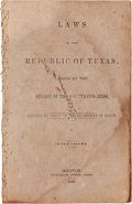 Miscellaneous:Booklets, [Texas Republic]. Laws of the Republic of Texas, Passed at theSession of the Fourth Congress....