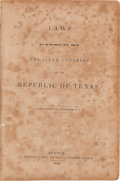 Miscellaneous:Booklets, [Texas Republic]. Laws Passed by the Sixth Congress of theRepublic of Texas....