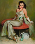Pin-up and Glamour Art, GIL ELVGREN (American, 1914-1980). Captivating, Brown &Bigelow calendar illustration, circa 1950s. Oil on canvas. 30 x...
