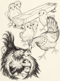 Mainstream Illustration, GARTH WILLIAMS (American, 1912-1996). Flossie and Bossie, page69 and 80 illustrations (pair), 1949. Pen on paper. 9.75 ...(Total: 2 Items)