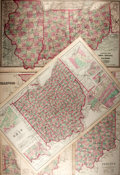 """Books:Maps & Atlases, [Maps] Lot of Three United States Maps: Ohio, Illinois and Indiana. 27.75"""" x 17"""" in portrait and landscape formats. Removed ..."""