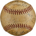 Autographs:Baseballs, 1936 New York Yankees Team Signed Baseball with Lou Gehrig &Joe DiMaggio....