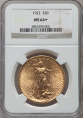 Saint-Gaudens Double Eagles, 1922 $20 MS64+ NGC. NGC Census: (7902/510). PCGS Population(7457/1315). Mintage: 1,375,500. Numismedia Wsl. Price for prob...