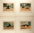 Books:Prints & Leaves, Henry Thomas Alken (1785-1851), artist. Set of Four Colored CockFighting Lithographs. Uniformly matted to an overall size o...