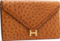 Luxury Accessories:Bags, Hermes Cognac Ostrich Lydie Clutch Bag with Gold Hardware &Shoulder Strap. ...