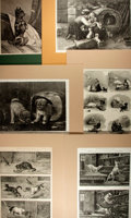 """Books:Prints & Leaves, [Antique Illustration] Lot of Six 19th Century Illustrations ofDogs. Matted to an overall size of 14"""" x 19"""". Most examples ..."""