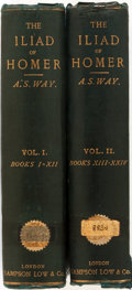 Books:Literature Pre-1900, Arthur S. Way, translator. Homer. The Iliad. London:Sampson, Low, Marston, Searle and Rivington, 1886. Two octavo v...(Total: 2 Items)