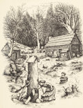 Mainstream Illustration, GARTH WILLIAMS (American, 1912-1996). Little House Series,sample style drawing, late 1940s. Pen and ink on paper. 11 x...