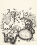 Mainstream Illustration, GARTH WILLIAMS (American, 1912-1996). The Old Meadow, originalcover artwork, 1987. Pen on paper. 12 x 9.5 in. (main). N...