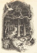 Mainstream Illustration, GARTH WILLIAMS (American, 1912-1996). Little House Series,sample style drawing, late 1940s. Charcoal pencil on paper.1...