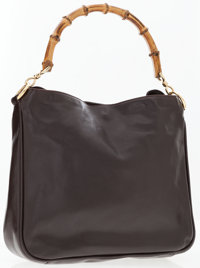 Gucci Brown Leather Tote Bag with Bamboo Handle