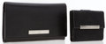 Luxury Accessories:Accessories, Gucci Set of Two: Black Leather Wallet & Black Monogram CanvasWallet. ... (Total: 2 Items)