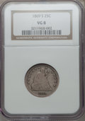 Seated Quarters: , 1869-S 25C VG8 NGC. NGC Census: (1/22). PCGS Population (3/69).Mintage: 76,000. Numismedia Wsl. Price for problem free NGC...