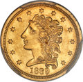 Classic Quarter Eagles, 1839 $2 1/2 AU55 PCGS. Breen-6148, Variety 21, R.3....