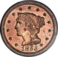 Proof Large Cents, 1855 1C Slanted 55 PR64 Red and Brown PCGS. CAC. N-10, R.5 as aproof....