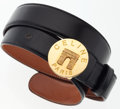 Luxury Accessories:Accessories, Celine Black Leather Belt with Gold Hardware. ...