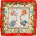 Luxury Accessories:Accessories, Gucci Red & Beige Medieval Motif Silk Scarf . ...