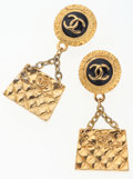 Luxury Accessories:Accessories, Chanel Gold Earrings with CC Logo & Flap Bag Charm . ...