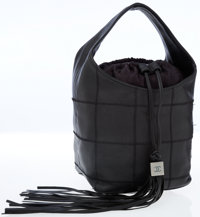 Chanel Quilted Black Leather Bucket Bag with Tassel Detail