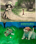 Books:Prints & Leaves, Garth Williams (1912-1996), illustrator. Lot of Two PreliminaryCover Designs for Jan Wahl's Book Push Kitty, Circ...