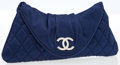 Luxury Accessories:Bags, Chanel Navy Quilted Satin Clutch with Silver CC Closure. ...