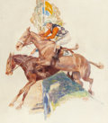 Illustration, ARTHUR ERNST BECHER (1877-1960). Steeple Chase, 1936. Oil onboard. 29-1/4 x 25-3/4 inches (74.3 x 65.4 cm) (sight). Sig...