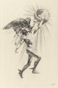 PAUL CALLE (American, 1928-2010) God of Mercury with Eagle and Profile of Mercury (pair), ci