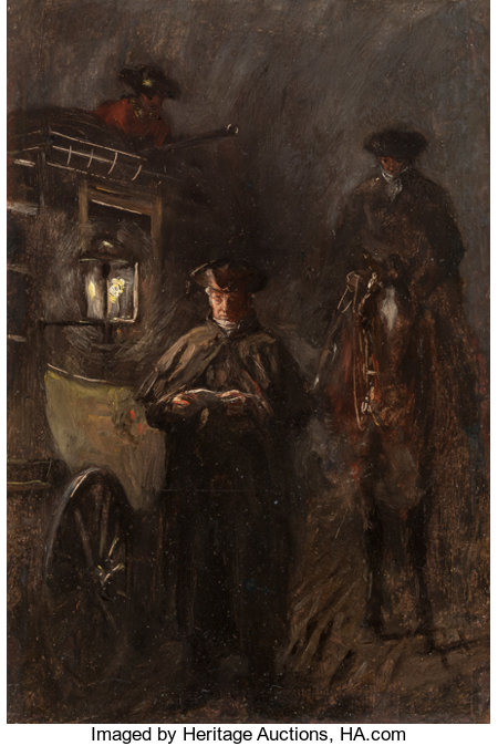 SEPTIMUS EDWIN SCOTT (British, 1879-1979)He Opened it in the Light, A Tale of Two Cities book illustrationOil on boa...