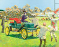 Mainstream Illustration, KENNETH PAULING RILEY (American, b. 1919). Back For the BigGame, 1909 Stanley Steamer, calendar illustration, GreatMomen...