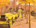 Paintings, KENNETH PAULING RILEY (American, b. 1919). Stutz Bearcat Goes to College, Great Moments in Early American Motoring. Acry...