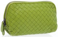 Luxury Accessories:Bags, Bottega Veneta Green Nappa Leather Intrecciato Pouch Bag. ...