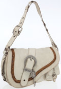 Luxury Accessories:Bags, Christian Dior Beige Leather Gaucho Saddle Bag. ...