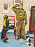 Illustration:Advertising, NORMAN ROCKWELL (1894-1978). Can't Wait, study for the BoyScouts of America calendar illustration, 1972. Oil on board....