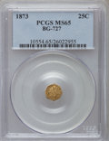 California Fractional Gold: , 1873 25C Liberty Octagonal 25 Cents, BG-727, High R.4, MS65 PCGS.PCGS Population (11/8). NGC Census: (4/2). ...