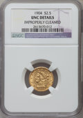 Liberty Quarter Eagles: , 1904 $2 1/2 -- Improperly Cleaned -- NGC Details. Unc. NGC Census:(40/4085). PCGS Population (60/3700). Mintage: 160,700. ...