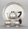 Silver Holloware, Continental:Holloware, A FOUR PIECE AUSTRIAN SILVER AND EBONIZED WOOD TEA SERVICE. Makerunidentified, Austria, circa 1900. Marks: (Diana-3), (make...(Total: 4 Items)