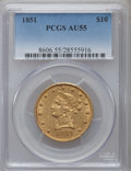 Liberty Eagles: , 1851 $10 AU55 PCGS. PCGS Population (7/12). NGC Census: (55/49).Mintage: 176,328. Numismedia Wsl. Price for problem free N...