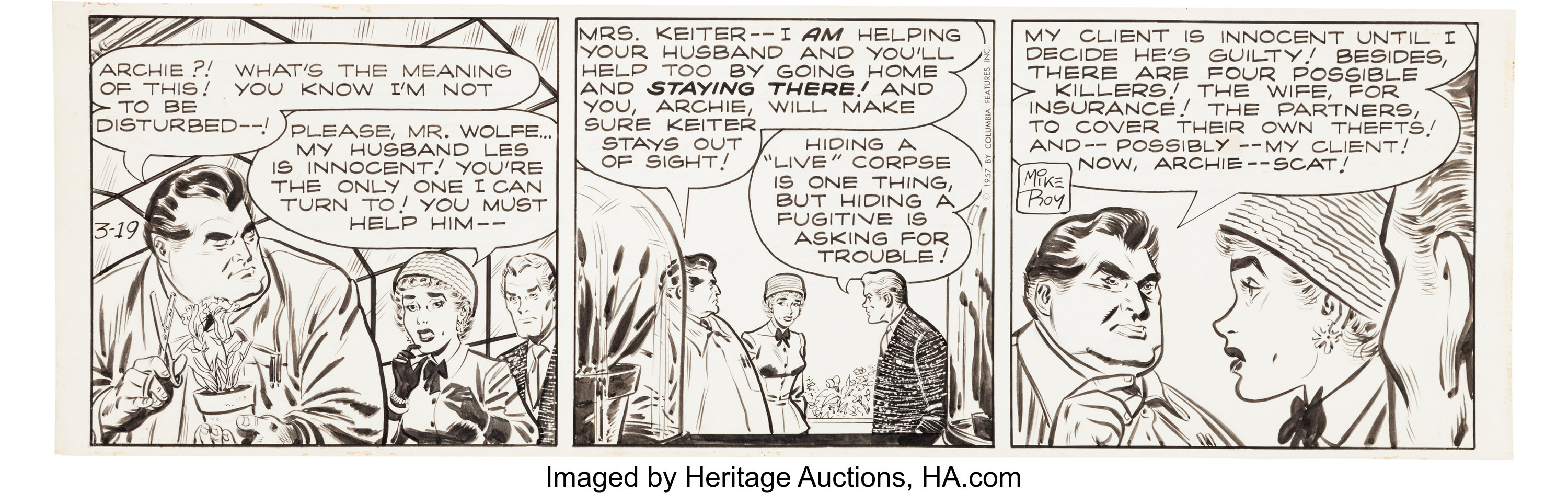 Mike Roy Nero Wolfe Daily Comic Strip Original Art dated 3