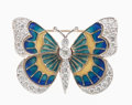 Estate Jewelry:Brooches - Pins, Diamond, Enamel, Gold Butterfly Brooch. ...