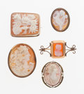 Estate Jewelry:Brooches - Pins, Shell, Carnelian Agate Cameo, Gold Brooch Lot. ... (Total: 5 Items)