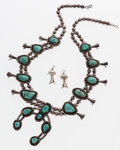Estate Jewelry:Suites, Turquoise, Sterling Silver Squash Blossom Jewelry Suite. ...