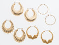 Estate Jewelry:Earrings, Gold Earring Lot. ... (Total: 4 Items)