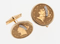 Estate Jewelry:Cufflinks, Coin, Diamond, Gold Cuff Links. ...