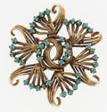 Estate Jewelry:Brooches - Pins, Retro Turquoise, Gold Brooch. ...