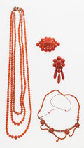Estate Jewelry:Lots, Coral Jewelry Lot. ... (Total: 4 Items)