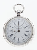Timepieces:Pocket (pre 1900) , English Mark Lion Silver Side Lever Fusee With Center SecondsChronograph. ...